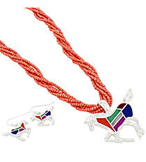 "18"" Coral Multi-Strand Mosaic Horse Necklace and Earring Set #AS4990-SMT2"