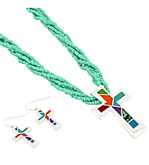"""18"""" Turquoise Multi-Strand Mosaic Cross Necklace and Earring Set #AS4993-SMT1"""