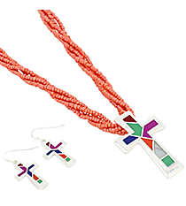 """18"""" Coral Multi-Strand Mosaic Cross Necklace and Earring Set #AS4993-SMT2"""