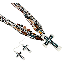 "18"" Black, White, and Wood Bead Cross Necklace and Earring Set #AS5036-STTJ"