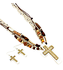 "18"" White and Wood Bead Cross Necklace and Earring Set #AS5036-TTN"