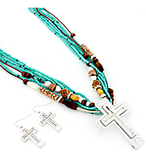 "27"" Goldtone and Antiqued Turquoise Dangling Cross Pendant Necklace and Earring Set #AS5012-TQ"