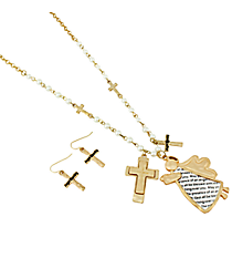 "24"" Pearl and Matte Goldtone Angel Blessing Charm Necklace and Earring Set #AS5041-MGW"