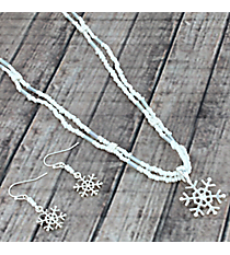 "20"" White Seed Bead and Silvertone Snowflake Necklace and Earring Set #AS5045-GMT"