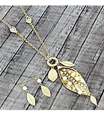 "29"" Goldtone Leaf Necklace and Earring Set #AS5066-GPL"