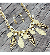 "17"" Goldtone and Seed Bead Leaf Necklace and Earring Set #AS5067-GW"