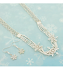 """16"""" White Seed Bead and Silvertone Snowflake Necklace and Earring Set #AS5068-SW"""