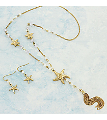 "24"" Pearl Beaded Goldtone Starfish Tassel Pendant Necklace and Earring Set #AS5217-GPL"