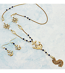 "24"" Midnight Beaded Goldtone Anchor Tassel Pendant Necklace and Earring Set #AS5218-GM"