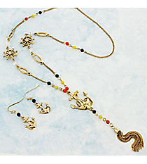 "24"" Multi-Color Beaded Goldtone Anchor Tassel Pendant Necklace and Earring Set #AS5218-GMT"