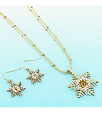 Gold and White Beaded Goldtone Snowflake Necklace and Earring Set #AS5312-G
