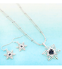 Blue and White Beaded Silvertone Snowflake Necklace and Earring Set #AS5312-S