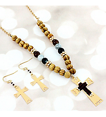 Brown, Ivory, and Goldtone Aztec Cross Beaded Necklace and Earring Set #AS5316-GB