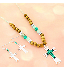 Turquoise, Black, and Silvertone Aztec Cross Beaded Necklace and Earring Set #AS5316-STQ