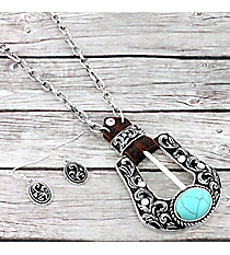 Turquoise and Silvertone Western Belt Buckle Necklace and Earring Set #AS5323-ASTQ