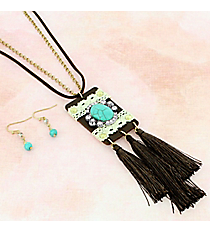 Tassels & Turquoise Faux Leather Pendant Necklace and Earring Set #AS5332-WTTB