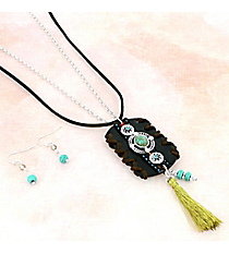 Laced Faux Leather and Tassel Pendant Necklace and Earring Set #AS5333-WSJ