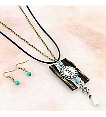 Two-Tone and Faux Leather 'Free Your Mind' Pendant Necklace and Earring Set #AS5335-TTB