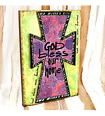 Green and Purple Cross 'God Bless Our Home' Sign #ASEY0037