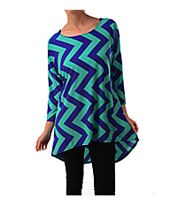 Two-Tone Blue Chevron Print Hi-Lo Tunic Top #ATP-2211PS-A20 *Choose Your Size