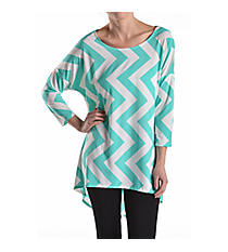 Light Blue and White Chevron Print Hi-Lo Tunic Top #ATP-2211PS-A89 *Choose Your Size