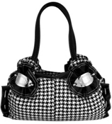 Houndstooth Cinched Satchel  #ZEBB336-BLACK