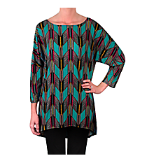 Tribal Chevron 3/4 Dolman Sleeve Hi-Lo Tunic Top #B2000CHA-11 *Choose Your Size