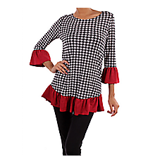 Tradition Houndstooth Tunic Top #SV-B2069-C-BURGUNDY *Choose Your Size
