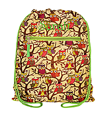 Vintage Owl and Green Drawstring Backpack #B6-501-G