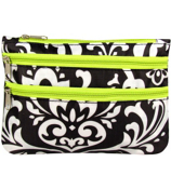 Damask with Green Trim Travel Pouch #CB2-2010-G