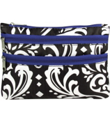 Damask with Blue Trim Travel Pouch #CB2-2010-B