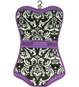 Damask with Purple Trim Folding Lingerie Bag #CB60-2010-PU