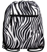 Zebra with Black Trim Drawstring Backpack #SL-2006