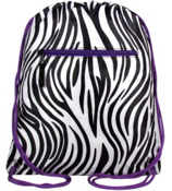 Zebra with Purple Trim Drawstring Backpack #SL-2006-PU