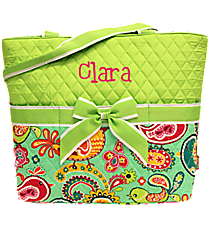 Paisley Chick Quilted Diaper Bag with Lime Trim #BRQ2121-LIME