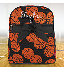 Basketball Quilted Large Backpack with Black Trim #BAQ2828-BLACK