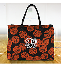Basketball Quilted Large Shoulder Tote #BAQ3907-BLACK