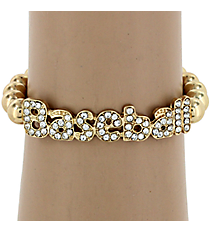 Crystal Accented Baseball Stretch Bracelet #QB4078-GD