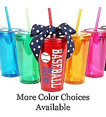 Baseball 16 oz. Double Wall Tumbler with Straw #WA334004 *Personalize Your Colors and Text