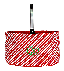 Red and White Striped Collapsible Market Basket #81299