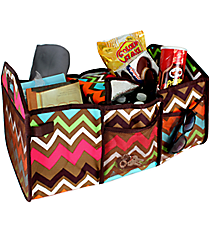 Multi Chevron and Brown Utility Storage Tote with Insulated Bag #MGR516-BROWN