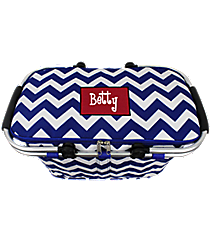 Royal Blue Chevron Collapsible Insulated Market Basket with Lid #ZCM658-ROY-BL/WHT
