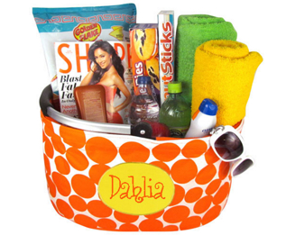 Tropical Fantasy Orange Polka Dot Collapsible Market Basket #53513