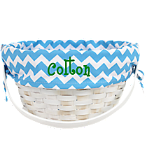 White Wicker Basket with Blue Chevron Lining #9718952C