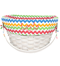 White Wicker Basket with Multi-Color Chevron Lining #9718952A
