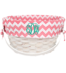 White Wicker Basket with Pink Chevron Lining #9718952B
