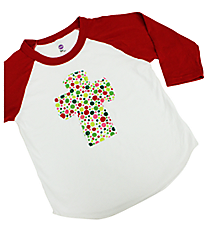 Frayed Cross Applique Kids 3/4 Sleeve Raglan Tee *Customizable!