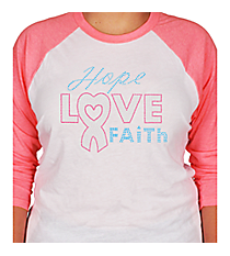 "Dazzling ""Hope, Love, Faith"" 3/4 Sleeve Raglan Tee 7"" X 8.75"" Design 14789 *Choose Your Shirt Color"