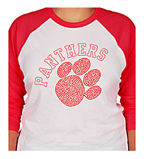 Red Paw and Team Name 3/4 Sleeve Raglan Tee 14899 *Choose Your Team Name!
