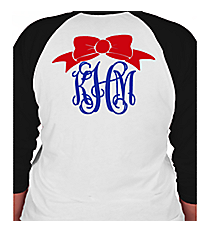 Bow Monogram 3/4 Sleeve Raglan Tee *Customizable
